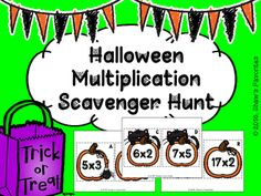 If your students are learning how to multiply to 100, or if they just need a little review, this scavenger hunt is perfect for them.  It allows them to get out of their seat and learn.  The theme to the multiplication cards is Halloween, which your students will love.