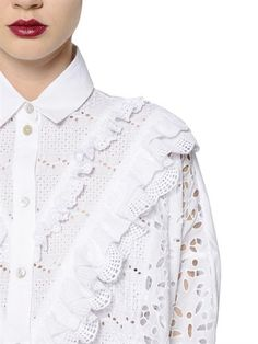 ANTONIO MARRAS - COTTON SANGALLO LACE & POPLIN DRESS - WHITE