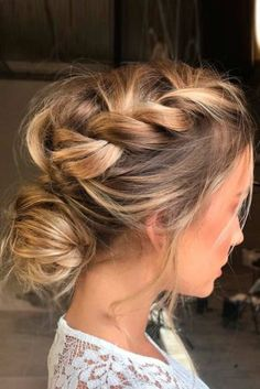 loose braid + messy bun.