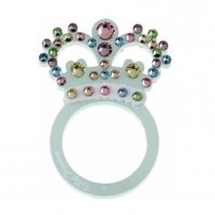 This pearlised mint perspex crown, bejeweled with pastel hue Swarovski crystals is sure to make a Prince or Princess Charming out of you. £39.00 #british #bestofbritish #english #jubilee #unusual #jewellery #ring