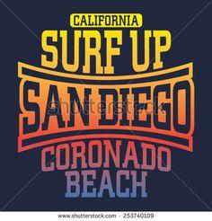 Surf sport typography, t-shirt graphics, vectors