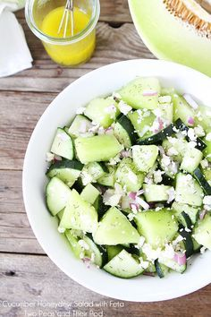 Cucumber Honeydew Salad with Feta Cheese on http://twopeasandtheirpod.com. Love this fresh and healthy salad!