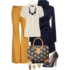 """""""Orla Kiely Navy and Yellow"""" by averbeek on Polyvore"""