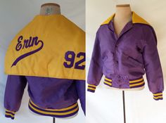 ERIN 90s Vintage Purple & Yellow Nylon Varsity Cheerleader Highschool Uniform Letterman Jacket XS Small Youth Girls Large Cheer Hood Cape
