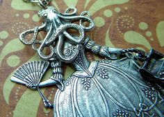 Gothic Victorian Necklace Octopus Girl With Treasure Chest Purse Nautical Steampunk Antiqued Silver Metals by CosmicFirefly