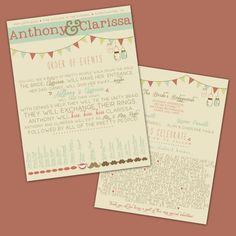 Wedding Program  Printable Custom  DIY Wedding  by SplashOfSilve