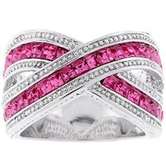 ******Ashley @Overstock - Click here for Ring Sizing ChartPink cubic zirconia fashion jewelrySilvertone criss-cross bandhttp://www.overstock.com/Jewelry-Watches/Kate-Bisset-Silvertone-Criss-cross-Pink-Cubic-Zirconia-Ring/3031990/product.html?CID=214117 $28.99