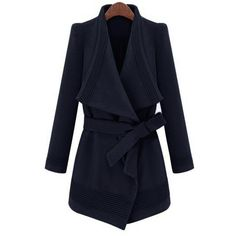 Yoins Waterfall Trench Coat in Navy with Belt ($60) ❤ liked on Polyvore featuring outerwear, coats, navy, belted trench coat, navy blue trench coats, waterfall coats, blue trench coat and navy trench coats