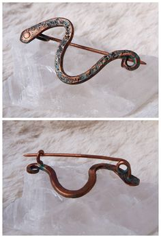Snake brooch by Alice Savage, hand forged from copper, with a tribal, ancient look. Bohemian, artisan, hippie, fantasy, witch