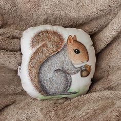 Squirrel pillow. Woodland nursery decor. Animal pillow. Kids room decor. Baby shower gift. Whimsical nursery decor. Squirrel soft toy decor.