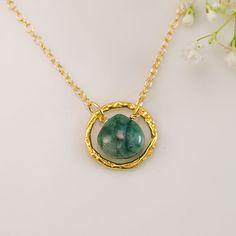 May Birthstone Earrings - Raw Emerald Earrings - Gold Earrings - Flower Earrings - Mother's Day Gift