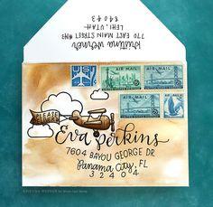 Custom Envelope Watercoloring – Monthly Mail Art – July 2017 – kwernerdesign blog