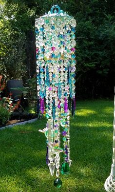 Antique Crystal Wind Chime Hummingbirds Wind Chime Teal and