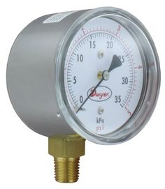 Dwyer Low Pressure Gage, Bottom Connection, w. Relief Valve, Vacuum Pump, Sprinkler, Chrome Plating, Top Rated, Connection, The Unit, Steel, Sprinklers