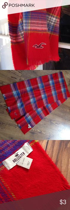 Hollister Plaid Red Scarf Great condition, fringe ends, I just don't ever wear scarfs, but love this pattern! Hollister Accessories Scarves & Wraps