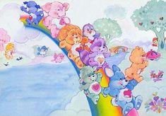 Care Bear Cousins on the rainbow slide Bear Pictures, Cute Pictures, Care Bear Tattoos, Care Bears Vintage, Care Bear Party, Old School Cartoons, Rainbow Brite, Bear Art, Backrounds