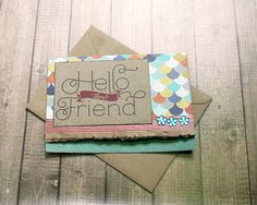 """Hello There Friend, Keep In Touch, Just Because, Thinking of You, Friendship, BFF, Encouragement, Get Well Greeting Note Card - 5.5"""" by 4"""" by PaperDahlsLLC on Etsy"""
