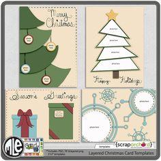 Layered Christmas Card Templates $3.19