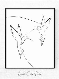 Hummingbird Drawing, Hummingbird Tattoo, Bird Drawings, Art Drawings Sketches, Bird Line Drawing, Art Colibri, Art Abstrait Ligne, Minimalist Drawing, Continuous Line Drawing