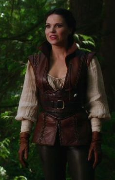 Leather vest & blouse (a bit much but i like it a would wear a similiar version out and about, heck to be honest i would wear it the way that it is but people might question the costume esqse too much)