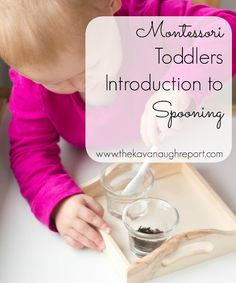 A simple activity for young toddlers: transferring with a spoon.