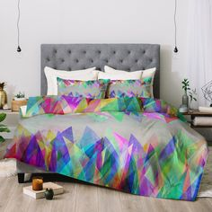 Vividly colored geometrics on a gray ground mean the Mareike Boehmer Graphic 106 X Comforter by Deny Designs will match any other color bedding. Queen Comforter Sets, Bedding Sets, Teal Bed Sheets, Tie Dye Bedroom, Grey Bedroom Decor, Bedroom Ideas, Master Bedroom, Neon Room, Teen Bedding