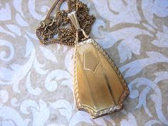Art Deco Gold Filled Locket Necklace by charmingellie on Etsy, $58.00
