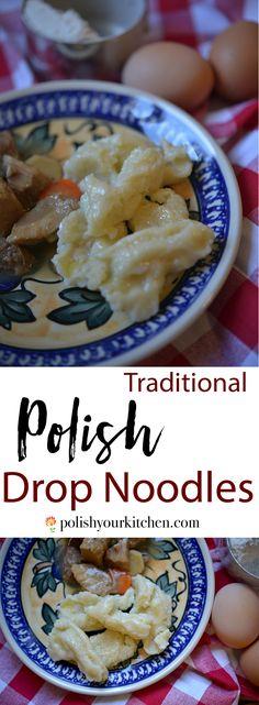 """Authentic recipe for Polish drop noodles """"kluski kładzione"""" by polishyourkitche. - Authentic recipe for Polish drop noodles """"kluski kładzione"""" by polishyourkitchen… Imágenes e - Slovak Recipes, Czech Recipes, Ukrainian Recipes, Hungarian Recipes, Russian Recipes, Ethnic Recipes, German Recipes, African Recipes, Polish Noodles Recipe"""