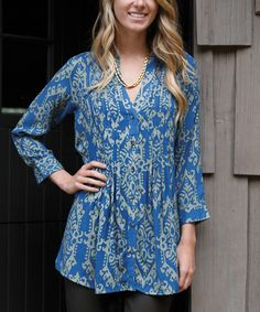 Look at this Blue Pai Ikat Pin Tuck Button-Up Tunic on #zulily today!