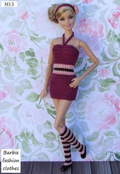 Barbie Knitting Patterns, Knitting Dolls Clothes, Crochet Dolls Free Patterns, Barbie Patterns, Knitted Dolls, Dress Barbie, Barbie Hair, Crochet Bikini Bottoms, Crochet Barbie Clothes