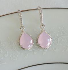 Blush rosa de Dama de honor pendientes joyas de la por PoetryBridal