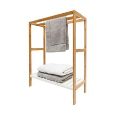 Towel Rail with Bamboo Frame | Kmart
