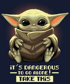 It's dangerous to go alone! from Qwertee Yoda Pictures, Star Wars Pictures, Cute Disney Wallpaper, Cute Cartoon Wallpapers, Math Wallpaper, Yoda Drawing, Cuadros Star Wars, Day Of The Shirt, Yoda Funny