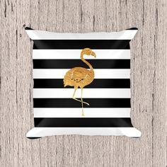 Or Flamingo oreiller, noir et blanc oreiller, coussin décoratif, coussin rayures, or oreiller, taie d'oreiller, oreiller, oreiller moderne, Home Decor