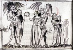 "amorbidwitch:  Man And Woman Tempted By The Devil From ""Franciscan Missal""; XIV Century"