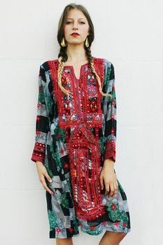 Red and Black Floral Afghani Dress