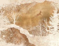 2 FOR 1 SALE  deer winter wonderland art snow by UnderTheSunPrints, $20.00