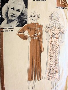 1930s GINGER ROGERS DRESS PATTERN 2 PRETTY STYLES HOLLYWOOD PATTERNS 1056