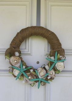 "@Gillian Lanyon Luce This reminds me of you! Burlap Starfish Beach Wreath - Fabric Flower Wreath - 13"" diameter. $25.00, via Etsy."