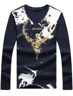 Long Sleeve V Neck Printing T-Shirt #jewelry, #women, #men, #hats, #watches, #belts, #fashion