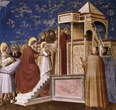 di Bondone Fresco in Cappella degli Scrovegni (Padua) No. 8 Scenes from the Life of the Virgin: Presentation of the Virgin in the Temple, Cappella Scrovegni (Arena Chapel), Padua. 200 x 185 cm. Renaissance Kunst, Italian Renaissance, Tempera, Fresco, Late Middle Ages, Italian Painters, Blessed Virgin Mary, Art Poses, Catholic Art