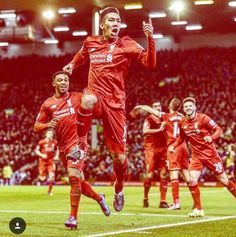 LFC 3 Arsenal 3 - Firmino celebrates after a stunning second goal