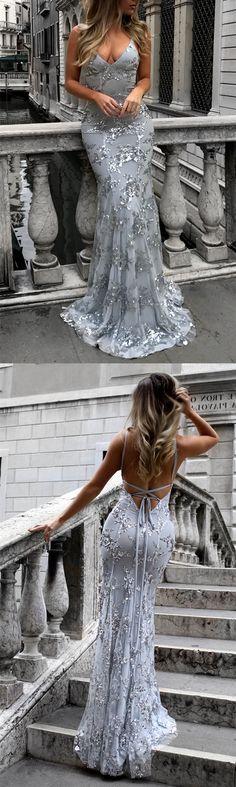 open back prom dress,mermaid prom dress,mermaid evening gowns,sexy prom dress,prom dresses 2018,silver evening gowns,silver prom dress,backless prom dress