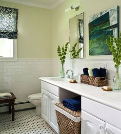 Provide a peaceful color palette in your bathroom with greens that lean toward yellow.