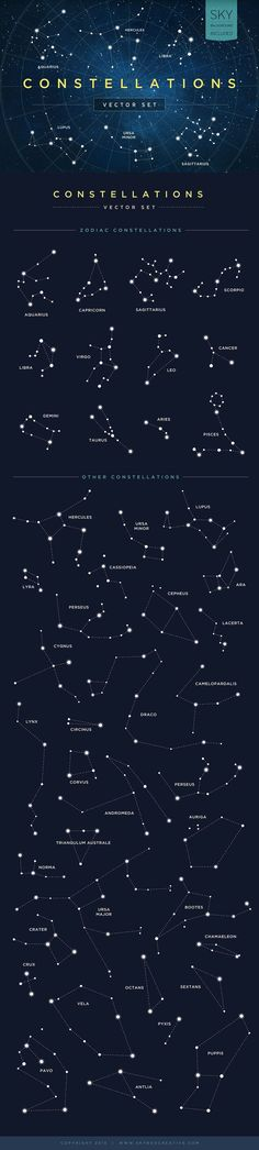 Constellations Vector Set by skyboxcreative #Illustration #Constellation