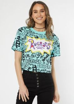 Teal Rugrats Graffiti Crop Top, Size M Rugrats, Juniors Graphic Tees, Tween Fashion, Steampunk Fashion, Gothic Fashion, Pencil Skirt Black, Pencil Skirts, Back To School Outfits, Aesthetic Clothes