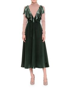 Ruffled+Velvet+Tea-Length+Dress+&+Silk-Blend+Turtleneck+Top+by+Valentino+at+Bergdorf+Goodman.