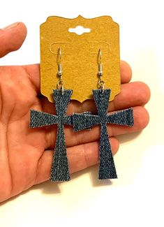 Excited to share this item from my #etsy shop: Blue jean denim fabric cross earrings boho religious Christian unique denim jewelry lightweight double sided handmade gift dangle small big#blue#jean#denim#fabric#cross#earrings#boho#religious#christian#unique#denimjewelry#lightweight#doublesided#handmade#homemade Denim Earrings, Cross Earrings, Boho Earrings, Blue Jeans, Denim Jeans, Stainless Steel Earrings, Denim Fabric, Belly Button Rings, Dangles