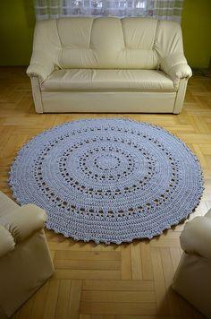 Gigant Round Rug 68in (170 cm) promotion crochet doily white rug carpet tapis boho hippie shabby white nursery floor home decor australia drutspa design rug grey szay dywan ze sznurka  Alfombra redonda Gigant 68 pulgadas 170 cm por craftladiesshop