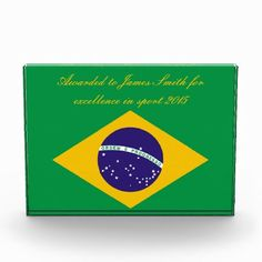 Brazil flag Brazilian custom text award